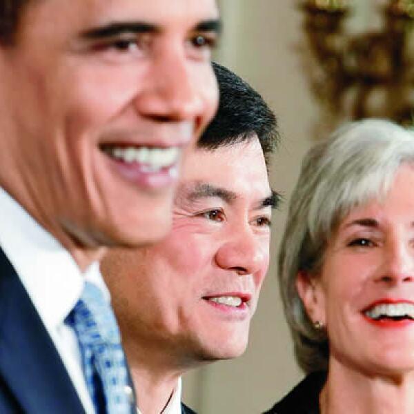 Kathleen Sebelius tiene en común con Obama el interés en la defensa del medio ambiente. Ocupa la Secretaría de Salud.