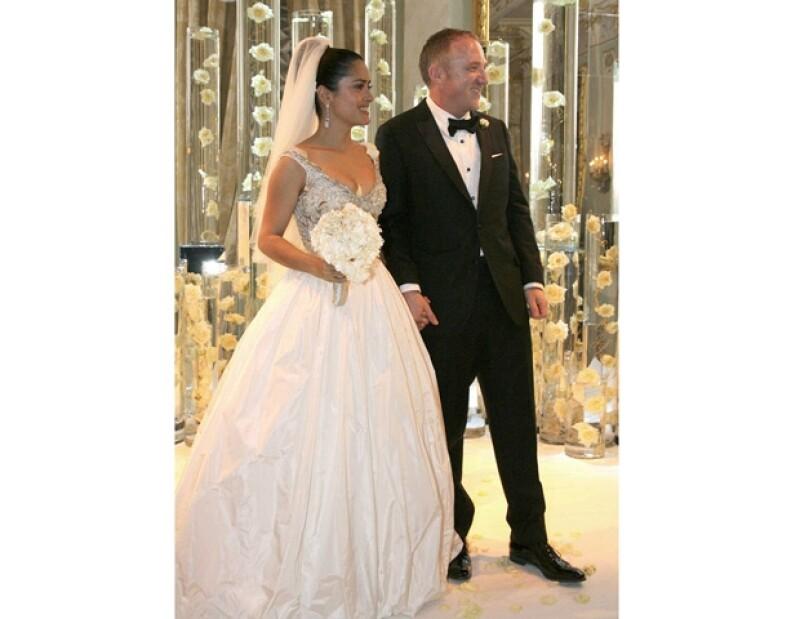 Salma y Francois se casaron cuando su hija Valentina ya había nacido.