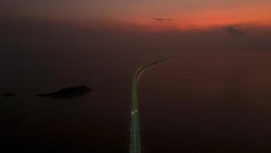 Aerial view shows the Hong Kong-Zhuhai-Macau bridge during sunrise off Zhuhai