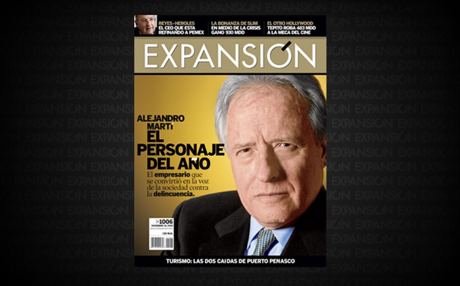 El empresario Alejandro Martí fue el Personaje del Año de Expansión.  El secuestro y la muerte de su hijo de 14 años de edad lo empujaron a convertirse en la voz de la gente contra la delincuencia.