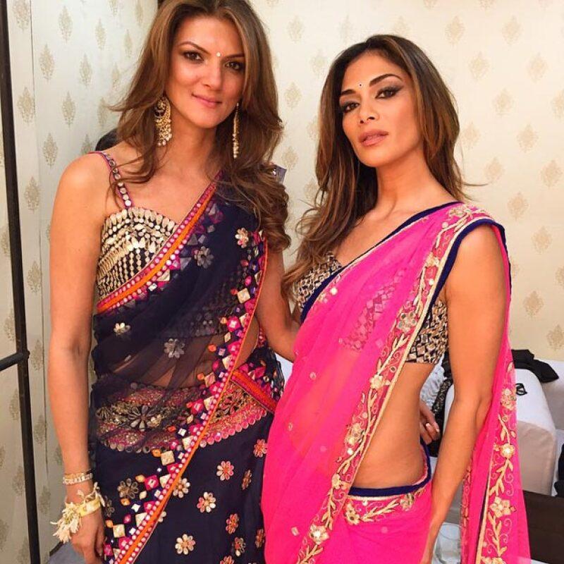 La ex Pussycat Doll con la hermana de la novia, Nandita Mahtani.