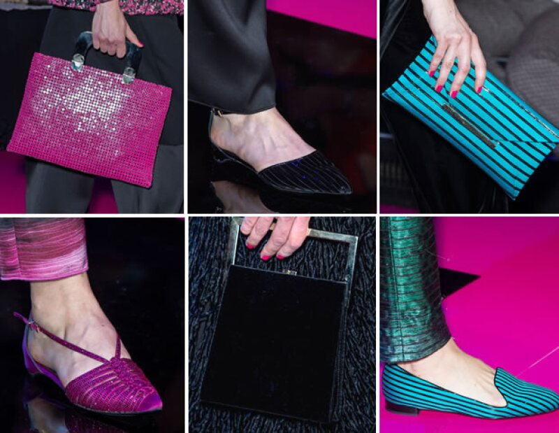 El diseñador que cumplirá 81 años este 11 de julio, implementó zapatos y bolsas que hacían juego.
