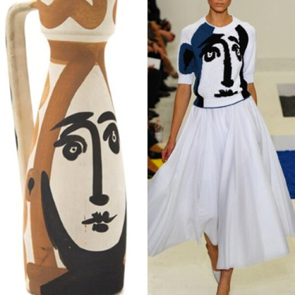 Las líneas de las cerámicas de Picasso se imprimen en  prendas de tejido de punto de la firma Jil Sander.