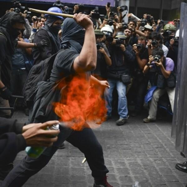 enfrentamiento durante la marcha por el 1 de septiembre