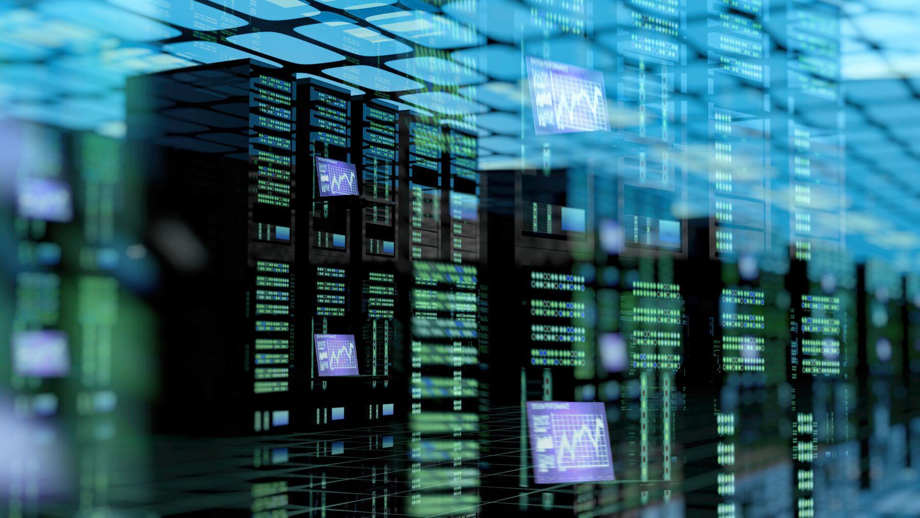Modern server room with server racks in data center