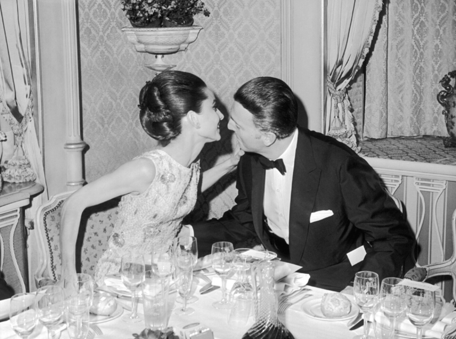 Hubert De Givency Kissing Audrey Hepburn In 1964