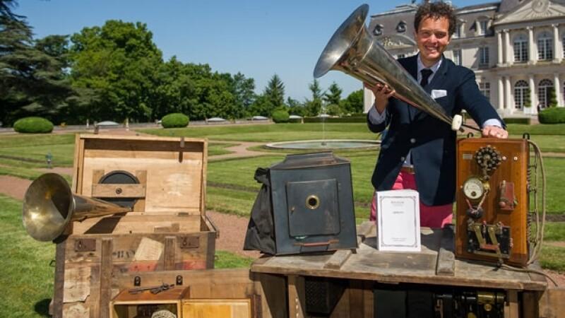 El cronomegáfono, repartido en cuatro maletas con un peso total de unos 450 kilogramos