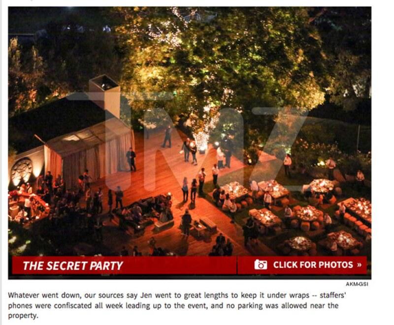 También el portal ha proporcionado una captura aérea de la fiesta de Jennifer y Justin en su mansión de Bel Air.