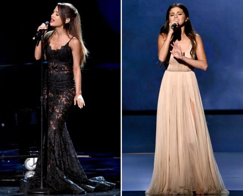 Ariana Grande y Selena Gomez pusieron a prueba sus poderosas voces en el escenario de los American Music Awards.