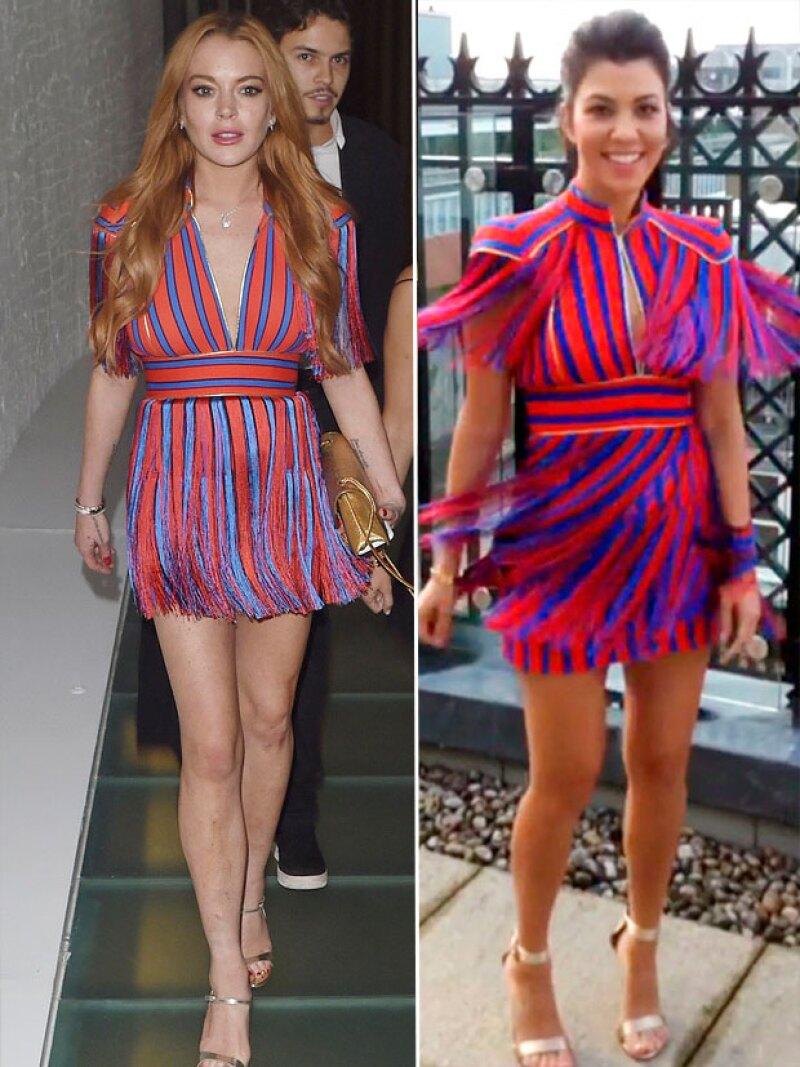 Es tal la confianza entre ellas, que Lindsay le prestó su vestido a Kourtney.