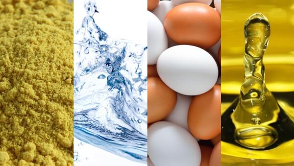 Necesitas mostaza en polvo, agua, huevos y aceite de oliva.