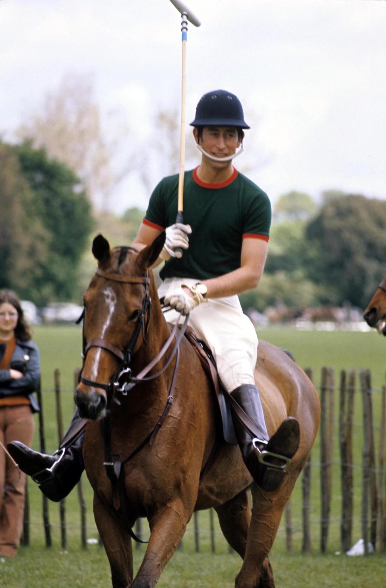Prince Charles playing polo, Britain - 1974