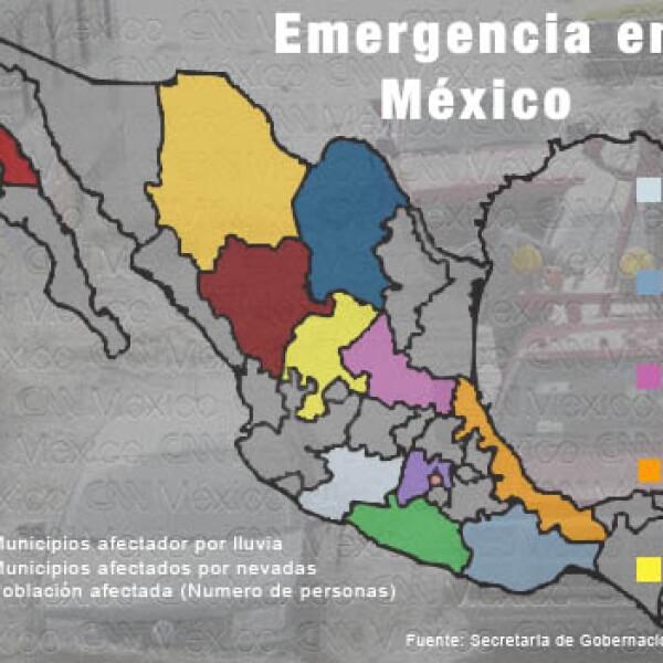 Mapa de inundaciones en México en febrero