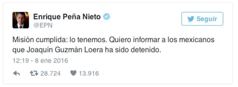 El presidente de México confirmó este viernes, por medio de sus redes oficiales, la detención del líder del Cártel de Sinaloa, Joaquín el Chapo Guzmán.