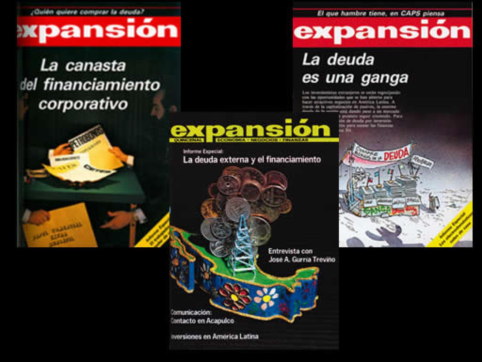 Los temas de la deuda y el financiamiento fueron tratados tantas veces como fue necesario en plena década de los 80, como se ve en estas portadas de 1980 (centro), 1986 (izq) y 1987 (der).