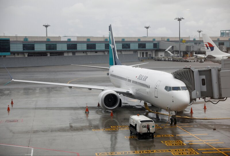 FILE PHOTO - SilkAir's new aircraft, the Boeing 737 Max 8, sits on the tarmac at Changi Airport in Singapore