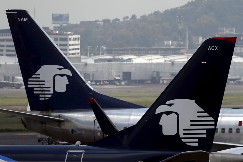 Aeromexico aeroplanes are seen on the airstrip at Benito Juarez international airport in Mexico City