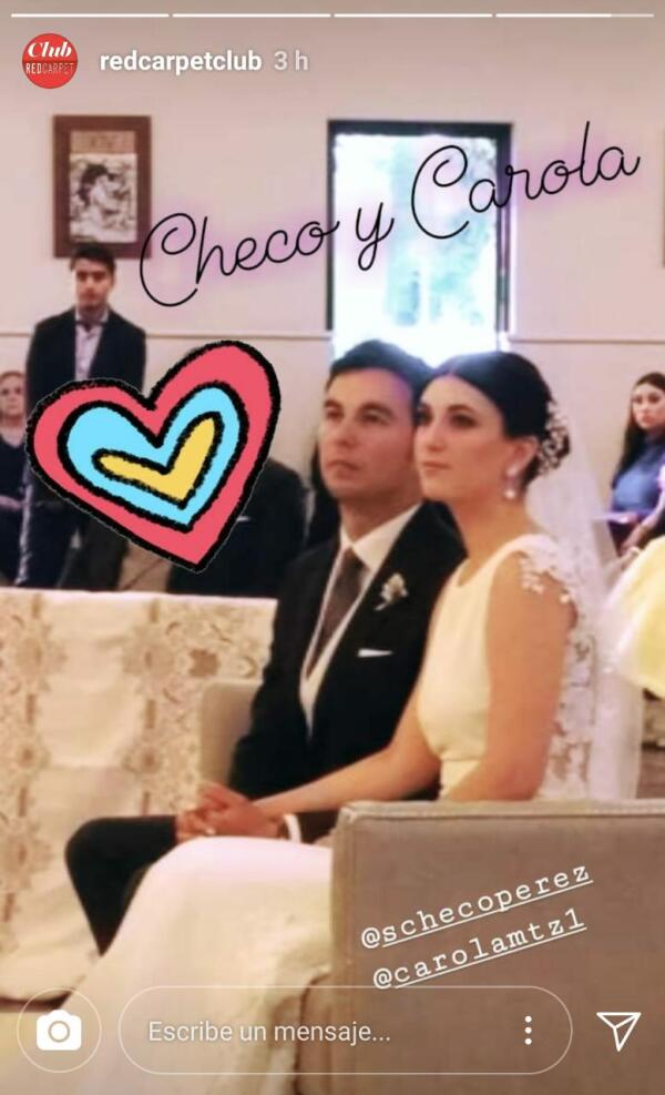 Sergio 'Checo' Pérez y Carola Martínez durante la ceremonia religiosa.