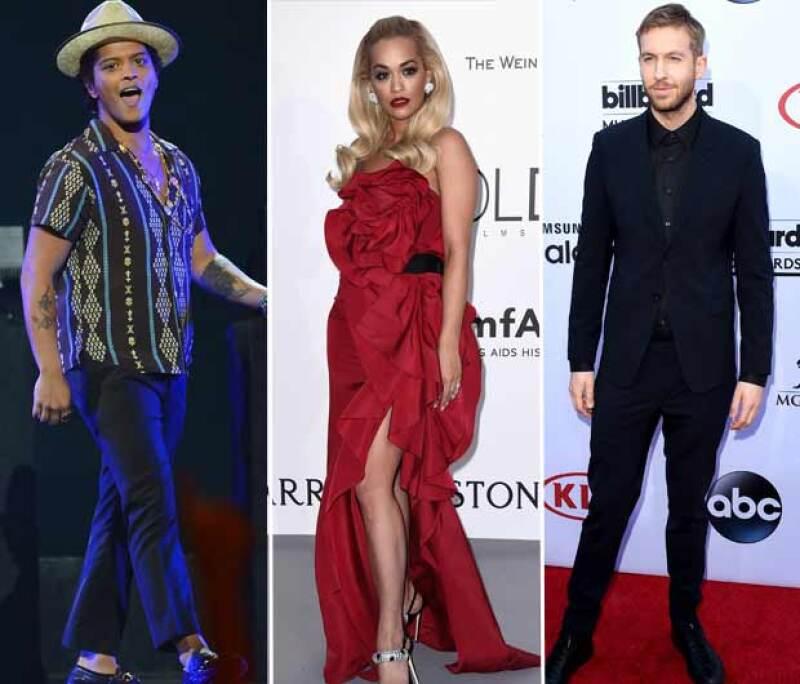 Bruno Mars y Calvin Harris anduvieron con Rita Ora.
