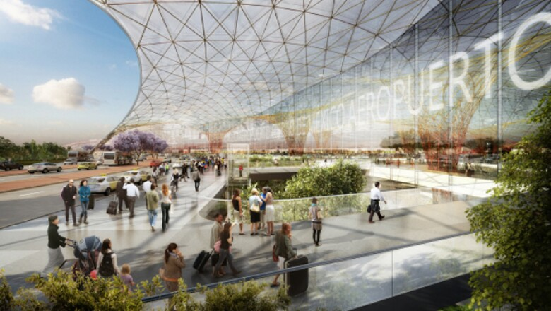 """Como una """"escultura que vuela"""" calificó el arquitecto Norman Foster al nuevo aeropuerto que construirá en la Ciudad de México junto con Fernado Romero, yerno de Carlos SLim, al presentar el proyecto en Los Pinos al presdidente Enrique Peña Nieto."""