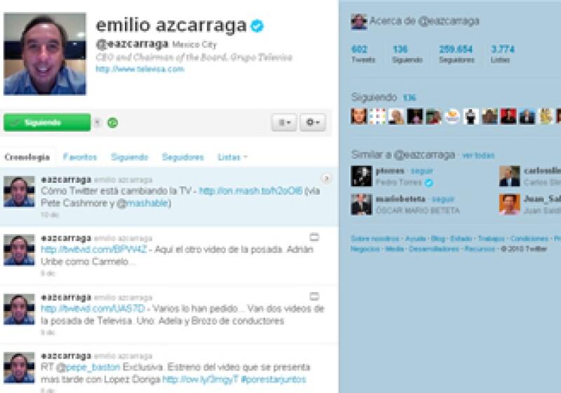 En sus tweets, Emilio Azcárraga ha hablado sobre los comentarios incómodos de sus empleados, la liberación de su primo tras 12 días de secuestro y el rompimiento de la alianza Televisa-Nextel. (Foto: Cortesía Twitter)