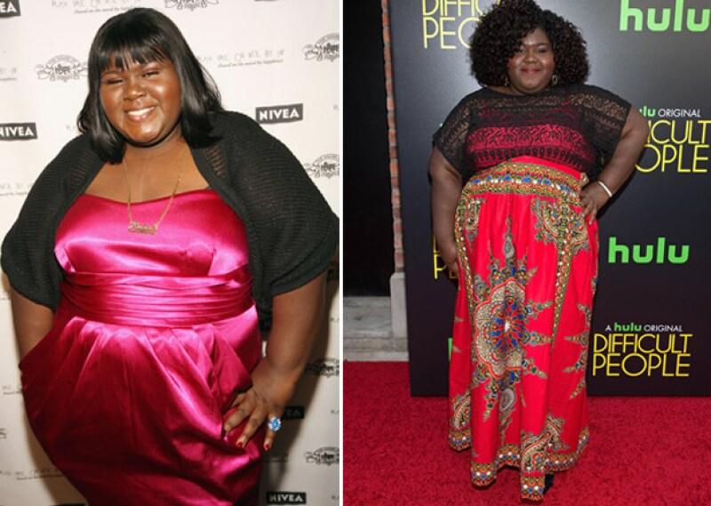 El antes y después de Gabourey. Aquí en 2009 y en una red carpet en junio de este año.