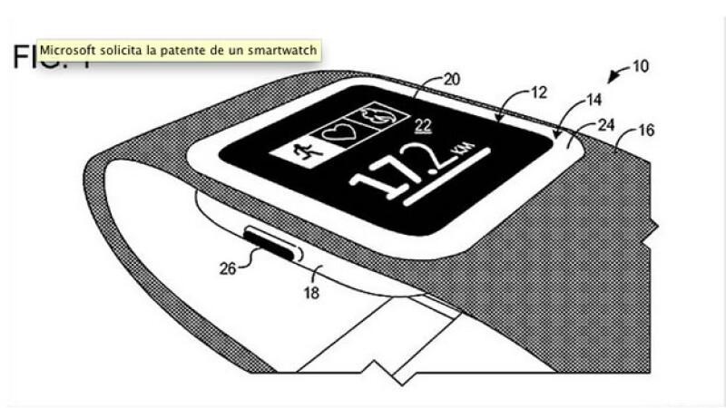 El bosquejo del reloj inteligente que presentó Microsoft a la Oficina de Patentes de Estados Unidos