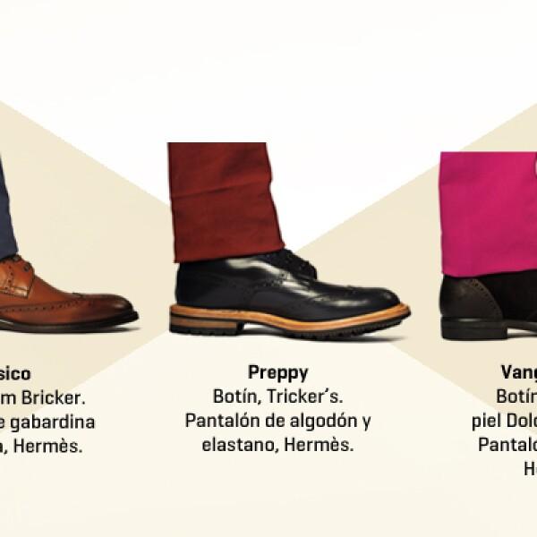 Los botines bostonianos con agujetas son prendas casuales, pero puedes convertirlos en calzado formal si agregas un pantalón de vestir con valenciana. El material, el color y el grosor de la suela del zapato determinarán el grado de formalidad del outfit.