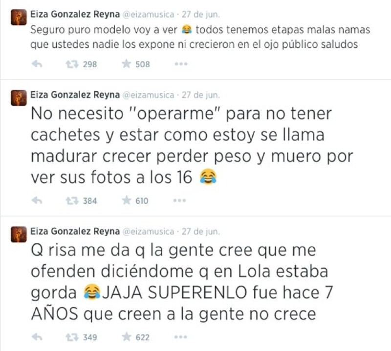 La mexicana respondió a través de varios tuits a quienes critican su figura y su rostro.