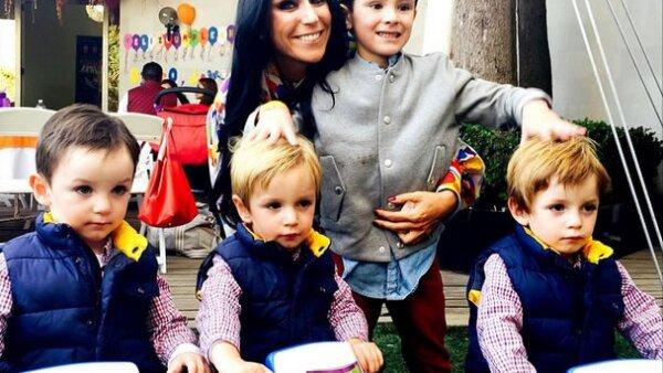 Inés Gómez Mont celebró a sus triates Diego, Javier y Bruno con una gran fiesta.