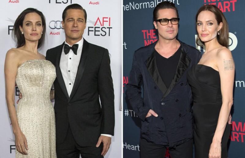 Según el tabloide británico, Brad está haciendo todo lo posible por ayudar a su esposa. Aquí el cambio de Angelina de su aparición en red carpet hace unas semanas en la premiere de By The Sea, a la premiere de The Normal Heart hace un par de años.