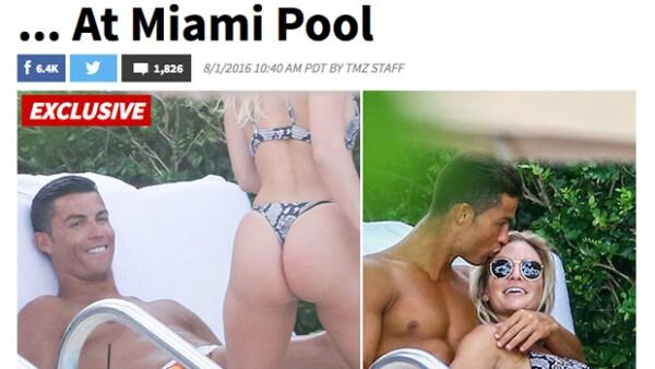 Luego de los rumores de romance con la mexicana, el portugués fue visto muy cariñoso con una sexy mujer en Miami.