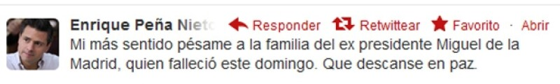 La noticia del fallecimiento del ex presidente mexicano se convirtió en trending topic en la famosa red social, en donde diversas personalidades lamentaron su muerte.