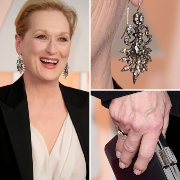 La siempre impecable Meryl Streep, usó aretes con diamantes del siglo XIX de Fred Leighton.