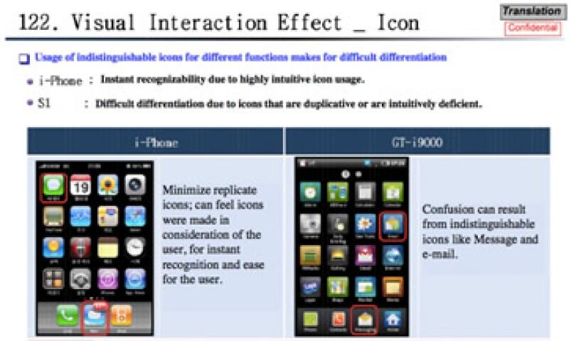Apple asegura que Samsung le copió varias opciones de la imagen de su marca iPhone. (Foto tomada de finance.fortune.cnn.com)