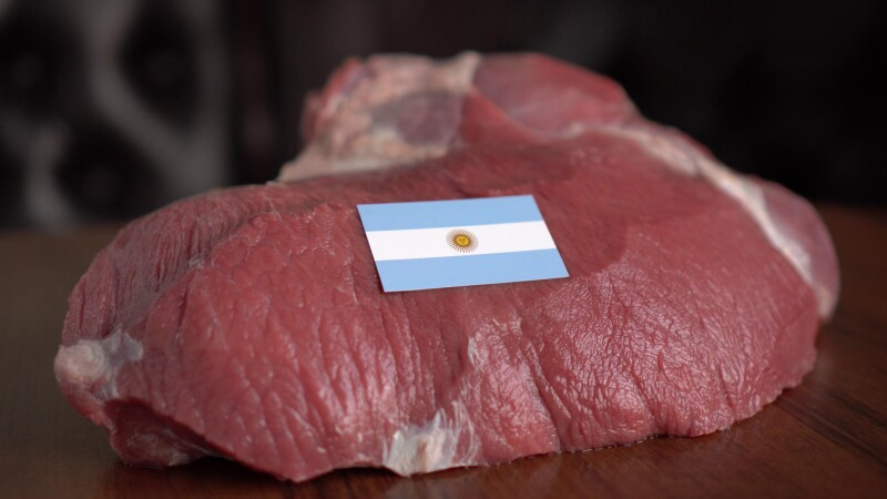 Raw meat and flag of Argentina