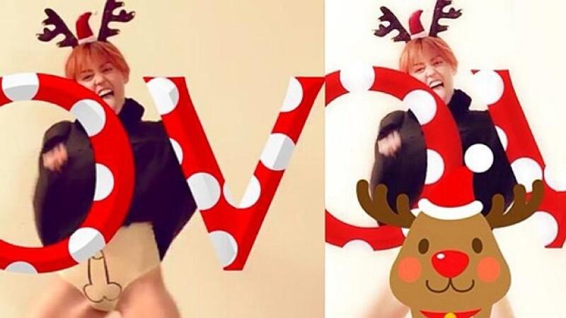 La revista LOVE subió una polémica foto de la cantante disfrazada como un reno, el problema fue que en su ropa interior había dibujado un pene.