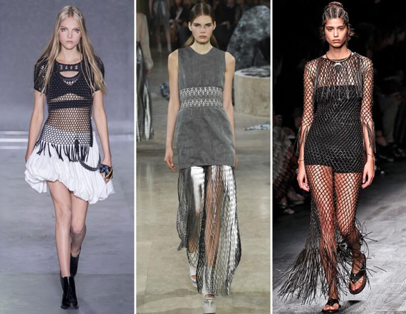 La red fue uno de los tejidos con más presencia en Paris Fashion Week.