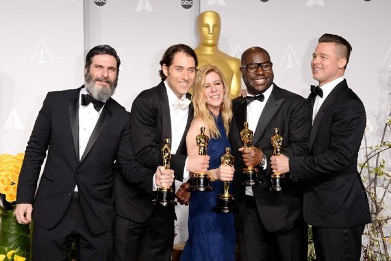Anthony Katagas, Jeremy Kleiner, Dede Gardner, Steve McQueen y Brad Pitt.