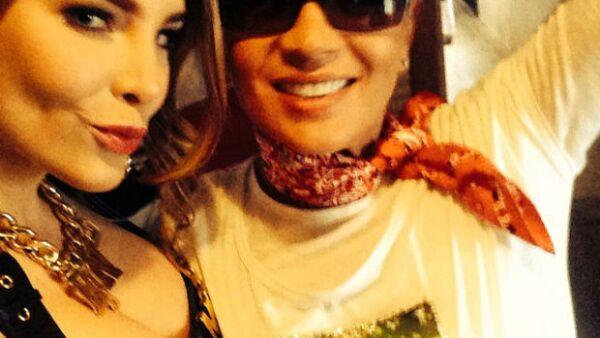 Yolanda Andrade y Belinda antes de su participación en el espectáculo en el Zócalo Capitalino.