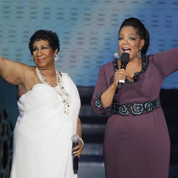 La cantante de soul Aretha Franklin actuó en la despedida de Winfrey. Franklin ha grabado más de 60 discos, ganado más de 18 premios Grammy y tiene más de 50 sencillos.