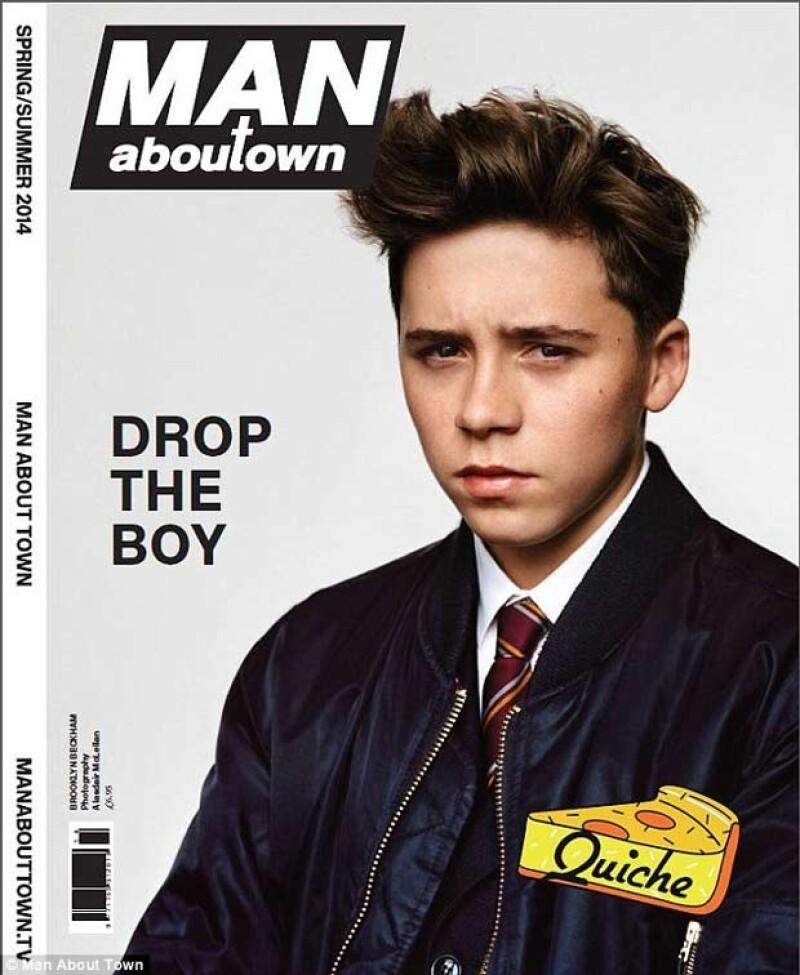 El hijo de Victoria y David, de 15 años, sigue los pasos de sus padres en el mundo de la moda y  lo hace en portada de la revista `Man About Town´.