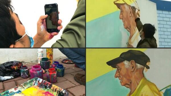 Un muralista inmortaliza a víctimas anónimas del coronavirus