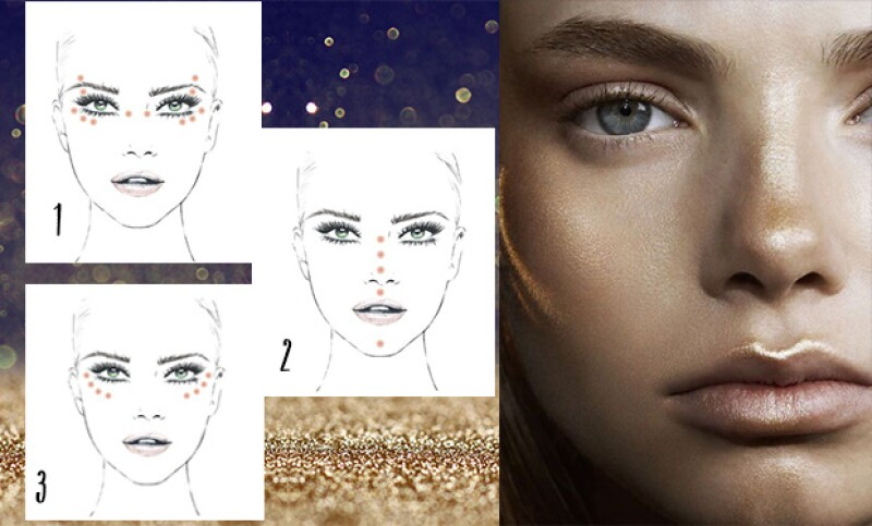 El punto es aplicar iluminador en puntos importantes de tu cara, para así crear simetría y estilizarla.