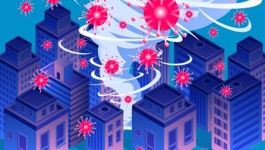 New Coronary Pneumonia Virus COVID-19 Swept Cities, Global Virus Outbreak, Tornado Swept Cities