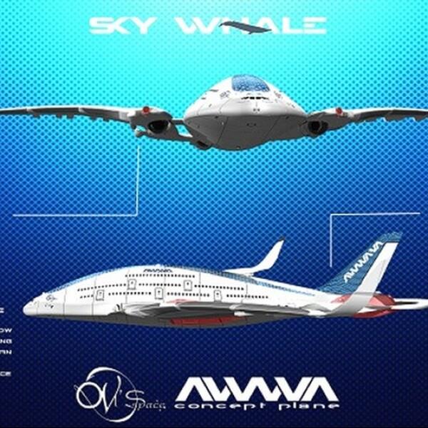 diseño de avion ecologico conocido como ballena del cielo