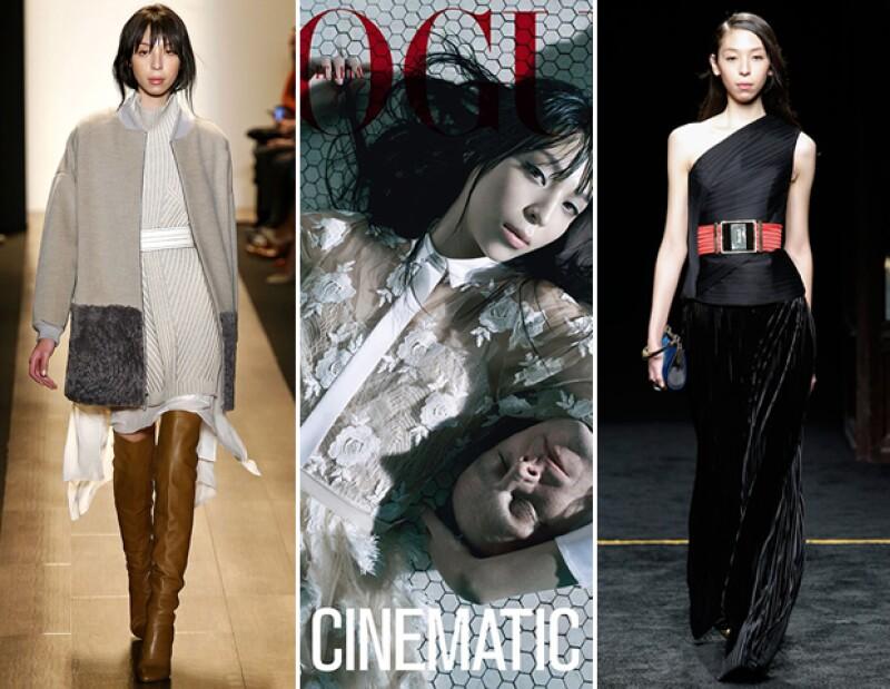 En BCBG otoño 2015. / En abril de 2014 apareció en la portada de Vogue Italia, fotografiada por Steven Miesel. / En la pasarela de Balmain de otoño 2015.