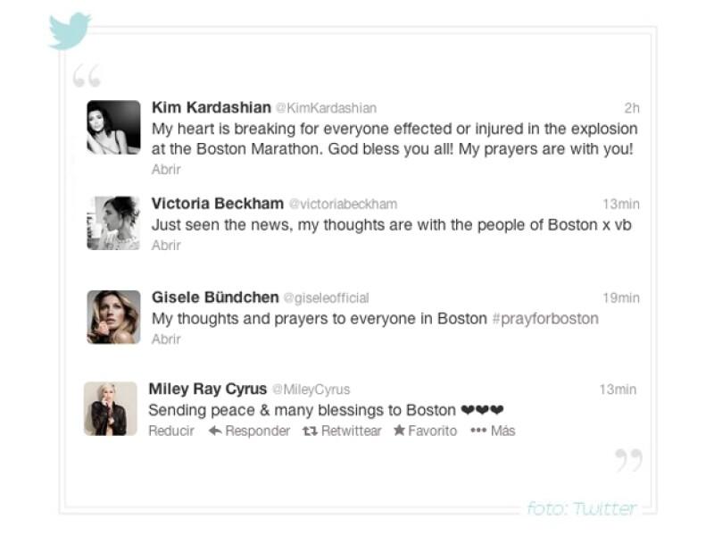 Victoria Beckham, Miley Cyrus, Ricky Martin y  Kim Kardashian son algunos de los que han expresado su sentir sobre las explosiones ocurridas durante el maratón este lunes.