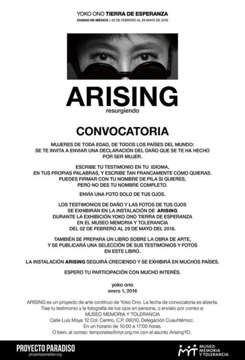 Yoko convocó a las mujeres mexicanas para participar en su proyecto Arising.