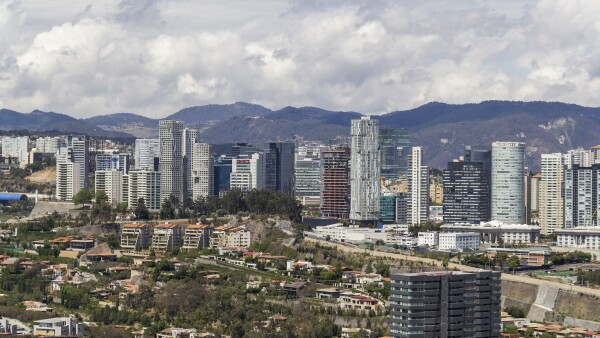 Santa Fe skyline with many modern skyscrapers for living and corporate buildings